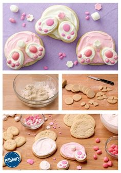 Bunny Butt Cookies This is the cutest bunny butt you'll ever lay eyes on! Make some easy Bunny Butt Cookies for Easter using Pillsbury refrigerated sugar cookie dough. This is a fun recipe idea for the kids to help decorate -- and of course eat up! Easter Cookies, Easter Treats, Easter Food, Easter Baking Ideas, Baby Cookies, Heart Cookies, Valentine Cookies, Birthday Cookies, Christmas Cookies