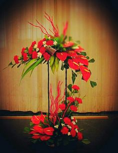 Easter Flower Arrangements, Tropical Floral Arrangements, Wedding Flower Arrangements, Altar Flowers, Church Flowers, Unique Flowers, Church Altar Decorations, Flower Decorations, Christmas Decorations