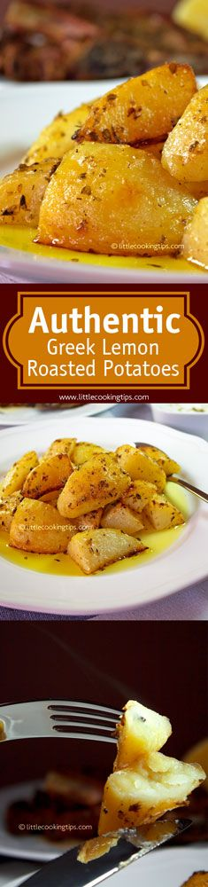 The authentic Greek Lemon Garlic Roasted potatoes. Tender inside and crispy outside, these garlicky-lemony potatoes are the best side for any grill meat/fish dish. Make sure to try them with some feta or tzatziki as well; You'll be amazed! #potatoes #Greek #roasted #side #dish #authentic