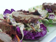 Grilled Flank Steak with Ginger Lime Coleslaw