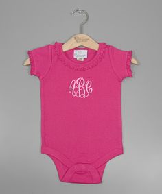 Take+a+look+at+the+Princess+Linens+Layette+Hot+Pink+Monogram+Ruffle+Bodysuit+-+Infant+on+#zulily+today!