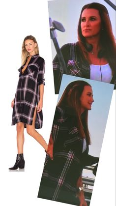 Kyle Richards' Plaid Shirt Dress on the set of her new show American Woman http://www.bigblondehair.com/real-housewives/rhobh/kyle-richards-black-plaid-shirt-dress/
