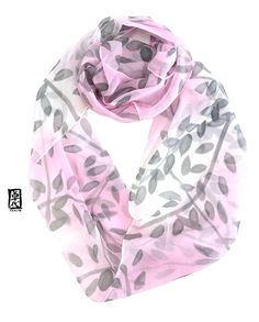 Silk Scarf Handpainted, Infinity Scarf, Chiffon Scarf, Pink Ombre Scarf,  Japan Scarf, Circle Scarf, Pink, Gray Ombre Vine, Made to order 580bf873e6