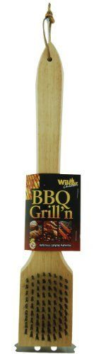 BBQ Grill Scraper & Brush with Stainless Steel Bristles, 18-inch by BBQ Scraper Brush Tool. $12.95. Stainless Steel bristles. Natural wood 18 inch handle. Bristles on one side, grill scraper on the other. Brass bristles. Bristles on one side, grill scraper on the other. Natural wood 18 inch handle.