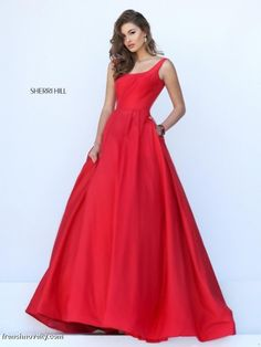 Size 4 Red Sherri Hill 50404 Scoop Neck Prom Gown with V Back-  You really can not help falling in love with this classic, full A-line taffeta gown! It features a tank style scoop neckline and deep U back before flaring into the full pleated skirt, which did I mention, has POCKETS!! I can not believe how much I love the simplicity and regal feel from this dress. Truly a timeless classic in my eyes!