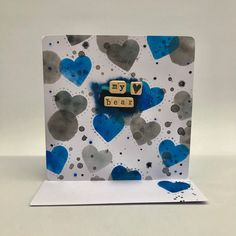 My bear, birthday card, gay card, lgbt,blue hearts, anniversary card, love card, romantic card, handmade card, engagement card, same sex by SinfulCeramics on Etsy https://www.etsy.com/uk/listing/590125758/my-bear-birthday-card-gay-card-lgbtblue
