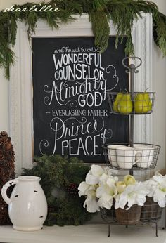 Dear Lillie: Christmas Chalkboard and Our Family Room (I would do this on something I can keep and put up each year)