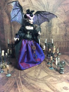 By LoreleiBlu Halloween Witches, Halloween House, Halloween Costumes, Halloween Miniatures, Dollhouse Miniatures, Dracula, Gothic Dolls, Girl House, Doll Maker