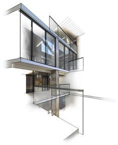 Highberg house cut away rendering vray 3d max for Interior design drawing tips