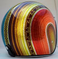 mexican blanket and metal flake helmet
