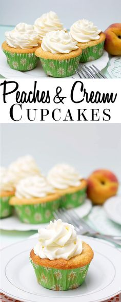 Peaches and Cream Cupcakes - Erren's Kitchen - Moist, fruity cakes made from fresh peaches and real whipped cream. Must try this summer when the Farmers Market is full of fresh peaches. Cupcake Recipes, Baking Recipes, Dessert Recipes, Baking Desserts, Soda A Pate, Yummy Cupcakes, Fruity Cupcakes, Peach Cupcakes, Mocha Cupcakes