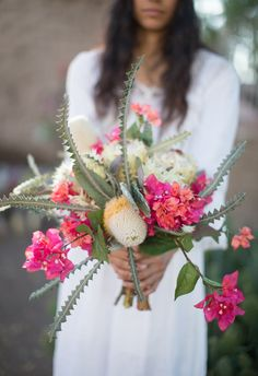 Southwestern wedding bouquet with bougainvillea and cactus Cactus Wedding, Floral Wedding, Rustic Wedding, Wedding Flowers, Wedding Reception, Farm Wedding, Wedding Bride, Bouquet Bride, Wedding Bouquets