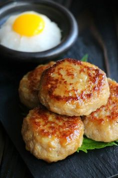Renkon Tsukune Mustard teriyaki with Tsukimi grated sauce by YOSHIRO Asian Recipes, Real Food Recipes, Cooking Recipes, Healthy Recipes, Cute Food, Good Food, Yummy Food, Asian Cooking, Healthy Cooking