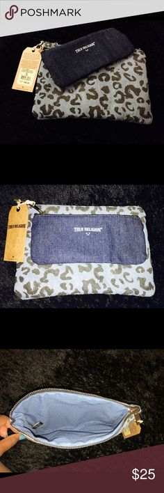 True Religion: Makeup Bag DESCRIPTION: These denim True Religion Makeup bags are so fancy: the definition of carrying your make up around in style! They are both a good size, but one is definitely a lot larger than the other. You can also use this a clutch for everyday usage.  CONDITION: BRAND NEW. With Tags. Retail Price-$70. True Religion Bags Cosmetic Bags & Cases