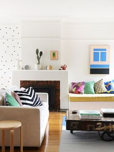 Pops of color perk up this space.