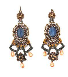 Gemstone Beads Kayanite Silver earrings   Oh La La Jewelry