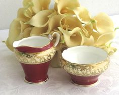 Vintage sugar bowl and creamer, Aynsley, England, burgundy and cream bands, lots of gilt edges and gilt pattern of leaves, 1930s / 40s by CardCurios on Etsy