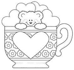 Molde ursinho na caneca cheio de corações