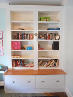 Ikea Billy bookcases, Ikea fridge cabinets with drawers instead of doors - brilliant!
