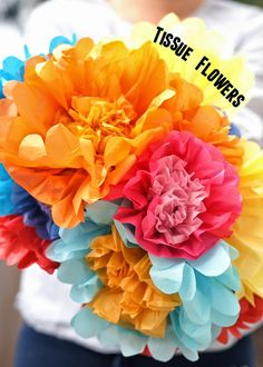 super easy way to make gorgeous tissue paper flowers with kids!