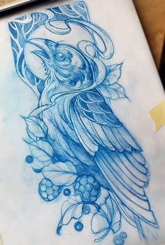 Эскиз татуировки с птицей и ягодами