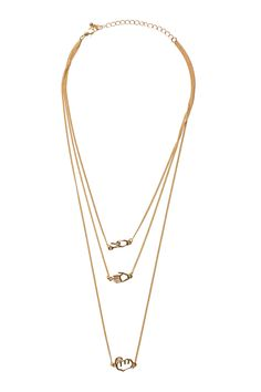 A hand deco, layered charm necklance ready to jazz up any neckline! With golden shine and a lobster claw clasp.