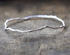 Sterling Silver Twig Bangle Bracelet Nature by ClaudetteTreasures