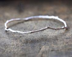 Sterling Silver Twig Bangle Bracelet Nature by ClaudetteTreasures