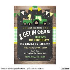 Tractor birthday invitation Farm party Boy Green