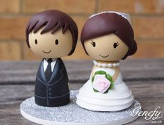 Cute wedding cake topper  Bride and Groom by GenefyPlayground, £88.00