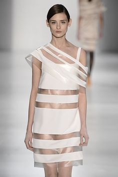 Transparency - clear plastic dress with white block opaque panels; fashion details // Gloria Coelho