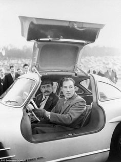 British race car driver #StirlingMoss test drives the Mercedes-Benz #300SL, later dubbed the Gullwing. Source: http://www.dailymail.co.uk/news/article-3302033/Extraordinarily-rare-Mercedes-Gullwing-raced-Stirling-Moss-complete-tartan-seats-expected-fetch-7million-New-York-auction-restored-following-40-years-storage.html