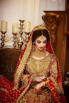 Beautiful Indian bride in red and all gold . Pakistani Bridal Makeup, Pakistani Wedding Outfits, Indian Bridal Outfits, Indian Bridal Fashion, Latest Bridal Dresses, Asian Bridal Dresses, Red Wedding Dresses, Designer Wedding Dresses, Wedding Lehenga Designs