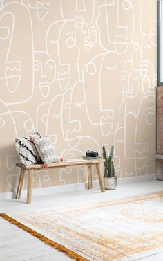 These wondrous designs have been styled with boho-chic interiors and neutral toned furniture and furnishings. As the designs are so impactful and iconic, it is important to style around them and not in the face of them… To create the most extraordinary and inspiring spaces, features of brass or metal textures works really well in elevating the potential of the mural. Adding a botanicals will compliment against the fresh-faced wall too.