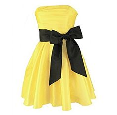 Simple but cute.... Yellow short summer dress with a black sash.