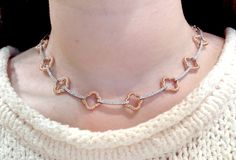 14k white and rose gold clover link necklace with 2.50 cts of diamonds.