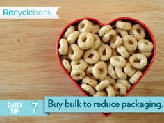 Have a favorite breakfast cereal that your family eats a lot? Buy it in bulk. You'll save packaging and money.