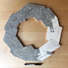 Artist Vasco Mourao Illustrates Infinite Skyscrapers on Circular Pieces of Plywood