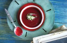 This beetroot and beer soup from our book Huiskok Glanskok appeared on SARIE.  Photography by Samarie Smith.