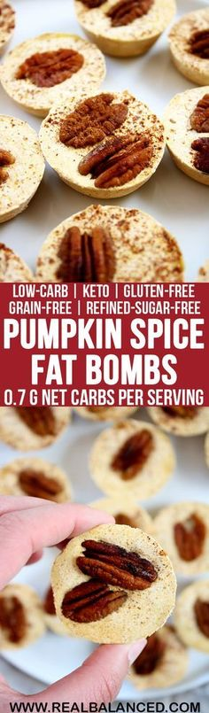 Pumpkin Spice Fat Bombs: low-carb, keto, gluten-free, grain-free, & refined-sugar-free! Less than 1g net carbs per serving! Try sweet potato puree instead.... no pecans...