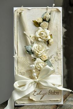 Shabby Cream Card With Flowers, Tulle, & Ribbon
