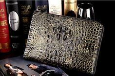 Premium Crocodile Leather Clutch Wallet With Wrist Strap