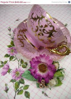 ON SALE Pink Tea Cup and Saucer Vintage Royal Sealy Corsage, Floral Hankie Gift Set Gold Gilding