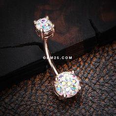 Rose Gold Multi-Gem Sprinkle Sparkle Prong Set Belly Button Ring-Aurora Borealis