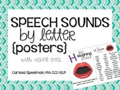 These Speech Sounds by Letter Posters are perfect for your speech room or a traveling speech-language pathologist!  Use these to teach your students how to make the sounds or use as a center for them to practice their sounds independently!  The front of the posters include the sound, the letter, a visual cue, and a written cue.