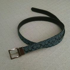 Authentic Coach belt Reversible belt. One side Blue with black c's and other is dark brown.  Fits size 35-38 waist.  Extra hole was put in which is seen on last pic.  Other wise in good condition. Accessories Belts