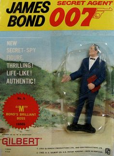 """Original 1965 James Bond """"M"""" Action Figure, by Gilbert. From the great James Bond 007 craze of the '60's comes this AUTHENTIC 1965 figure of """"M"""", 007's Boss. MINT ON SEALED CARD!! These Gilbert action figures and some of the toys and playsets they came out with in the same time period were among the FIRST OFFICIALLY-LICENSED JAMES BOND TOYS! Only one in stock. $75.00"""
