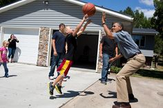 President Barack Obama plays basketball during a visit to the McIntosh family farm in Missouri Valley, Iowa, Aug. 13, 2012. The President toured a cornfield on the family farm to view the effect the drought is having on crops. (Official White House Photo by Pete Souza)
