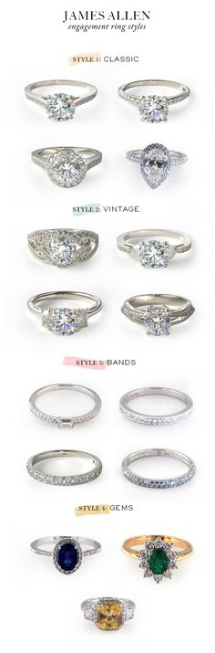 James Allen engagement rings  The second and third vintage ones.
