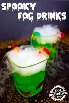 {Halloween Party Drink} Spooky Fog Drinks A Halloween party drink should be a little eerie and a whole lot of fun. These fog drinks are perfect for some holiday fun. The post {Halloween Party Drink} Spooky Fog Drinks appeared first on Halloween Food. Halloween Bebes, Fete Halloween, Halloween Goodies, Halloween Desserts, Halloween Food For Party, Halloween Birthday, Spooky Halloween, Halloween Drinks For Kids, Dry Ice Halloween
